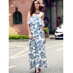 cheap Vintage Strapless Flounce Printed Maxi Dress For Women