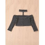 Chic Turtleneck Long Sleeve Striped Zippered Crop Top For Women photo