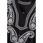 Vintage V-Neck 3/4 Sleeve Paisley Embroidered Women's Midi Dress deal