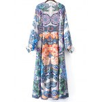 cheap Stylish Round Neck Long Sleeve Full Floral Women's Maxi Dress