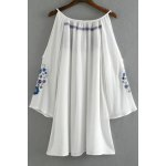 cheap Fashion Round Collar Cold Shoulder Embroidery Dress For Women
