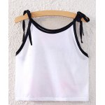 cheap Sweet Spaghetti Strap Lace-Up Floral Print Crop Top For Women