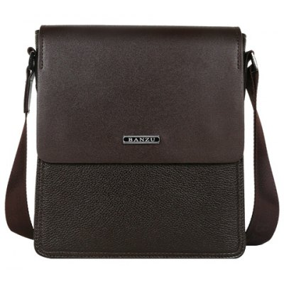Concise Dark Color and Letter Design Messenger Bag For Men