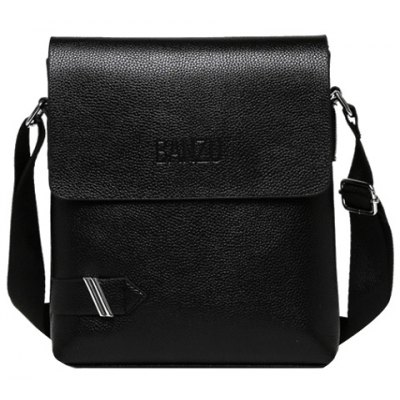 Simple PU Leather and Dark Color Design Messenger Bag For Men
