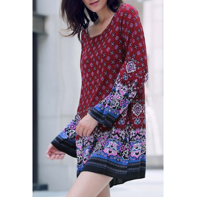 Round Neck Long Sleeve Printed Tunic Dress