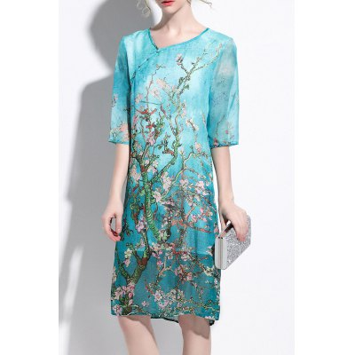 Flower Print Silk Shift Dress