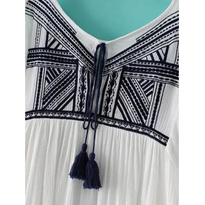 Ethnic Style Long Sleeve Round Neck Embroidery Dress For Women