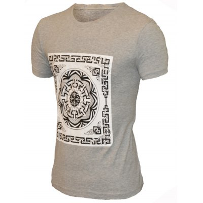 Geometric Flower Print Pattern Round Neck Short Sleeve T-Shirt For Men