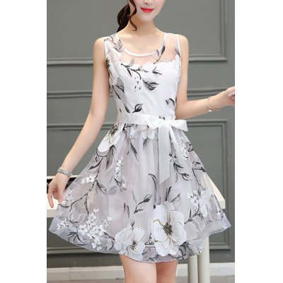 Chic Women's Voile Splicing Scoop Neck Sleeveless Floral Print A-Line Dress