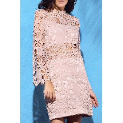 High Neck Flare Sleeve Guipure Lace Pink Dress