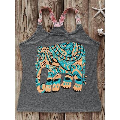 Fashionable Round Collar Elephant Print Spliced Women's Tank Top