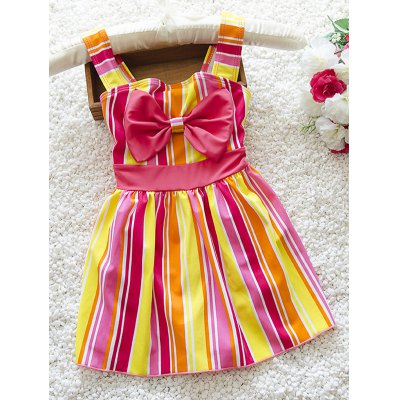 Striped Bowknot Embellished Color Block Girl's One-Piece Swimwear