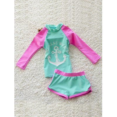 Girl's Anchor Print Long Sleeve T-Shirt + Boxers Two-Piece Swimsuit