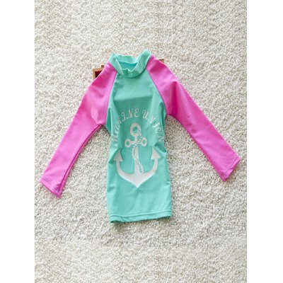 Stylish Girl's Anchor Print Long Sleeve T-Shirt + Boxers Two-Piece Swimsuit
