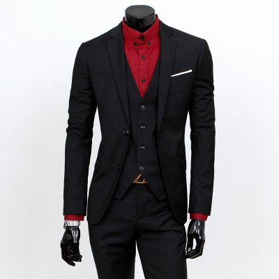 Laconic Lapel Special Breast Pocket Single-Breasted Slim Fit Long Sleeves Men's Blazer Three-Piece Suits(Blazer+Vest+Pants)