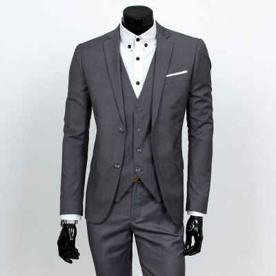 Lapel Long Sleeves Blazer Three-Piece Suits(Blazer+Vest+Pants)
