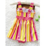 cheap Cute Striped Bowknot Embellished Color Block Girl's One-Piece Swimwear