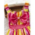 Cute Striped Bowknot Embellished Color Block Girl's One-Piece Swimwear deal