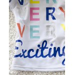 best Stylish Girl's Letter Print Long Sleeve T-Shirt + Boxers Two-Piece Swimsuit