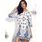 cheap Casual Scoop Neck Floral Print Hollow Out Dress For Women