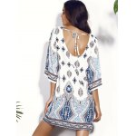best Casual Scoop Neck Floral Print Hollow Out Dress For Women