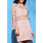 Alluring High Neck Flare Sleeve Guipure Lace Women's Pink Dress