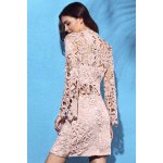 Alluring High Neck Flare Sleeve Guipure Lace Women's Pink Dress deal