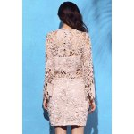 Alluring High Neck Flare Sleeve Guipure Lace Women's Pink Dress for sale