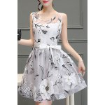 cheap Chic Women's Voile Splicing Scoop Neck Sleeveless Floral Print A-Line Dress