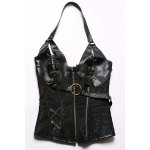Trendy Zipper Design Lace-Up Chain Embellished Women's Corset for sale