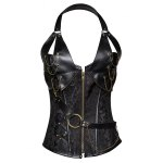 Trendy Zipper Design Lace-Up Chain Embellished Women's Corset