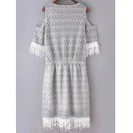 cheap Ethnic Style Round Neck Cold Shoulder Zig Zag Print Dress For Women