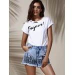 cheap Stylish High Waist Floral Embroidered Frayed Denim Shorts For Women