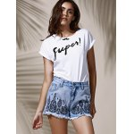 Stylish High Waist Floral Embroidered Frayed Denim Shorts For Women deal