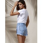 best Stylish High Waist Floral Embroidered Frayed Denim Shorts For Women