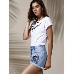Stylish High Waist Floral Embroidered Frayed Denim Shorts For Women for sale