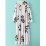 cheap Vintage Deep V Neck Long Sleeve Floral Print Women's Chiffon Kaftan Dress