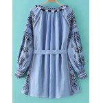 cheap Ethnic Style Round Neck Lantern Sleeve Embroidery Belted Dress For Women