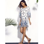 Printed Chiffon Backless Casual Shift Dress for sale