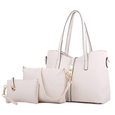 Ladylike Solid Color and Zip Design Tote Bag For Women