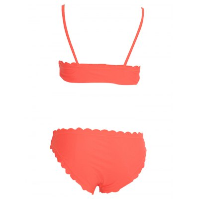 Spaghetti strap scalloped bikini set