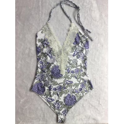 Sweet Plunging Neck Woven Design Lace-Front Floral Print One-Piece Swimwear For Women