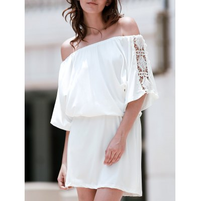 Off The Shoulder Lace Panel Mini Dress