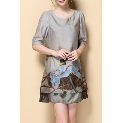 Stylish Round Neck Half Sleeve Printed Chiffon Women's Dress