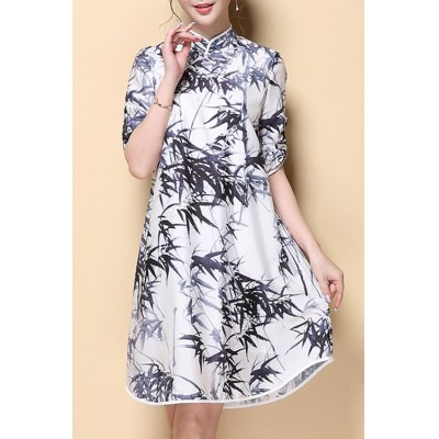 Stand Neck Half Sleeve Bamboo Leaves Print Dress
