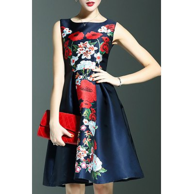 Round Neck Sleeveless Sweet Floral Print Dress