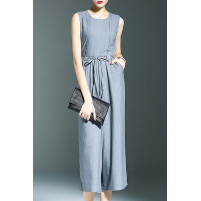 Round Neck Sleeveless Belted Solid Color Jumpsuit