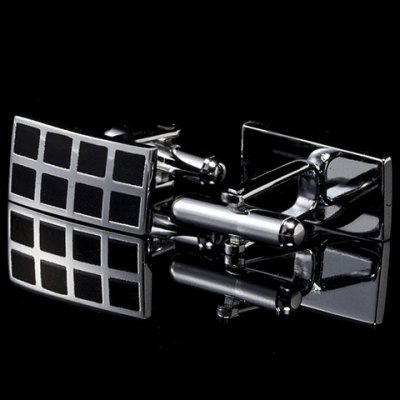 Pair of Stylish Checkered Alloy Inlay Rectangle Cufflinks For Men