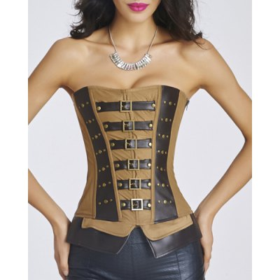 Buckle Design Patchwork Stud Embellished Corset