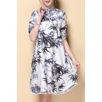 Stylish Stand Neck Half Sleeve Bamboo Leaves Print Women's Dress